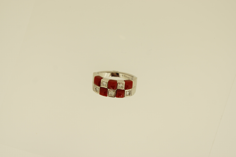 Pt赤珊瑚ダイヤ入リング(D0.20ct) -市松模様- 650,000-min
