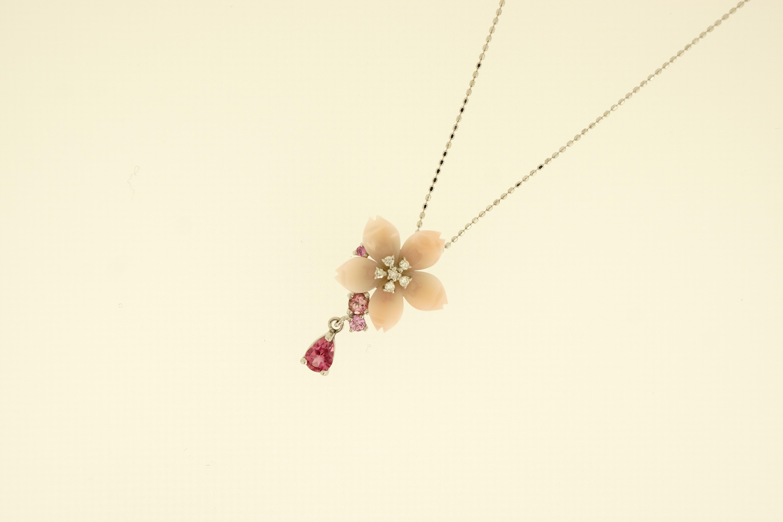 K18WGピンク珊瑚Pトルマリンダイヤ入ペンダントネックレス(D0.07ct) -桜- 350,000-min