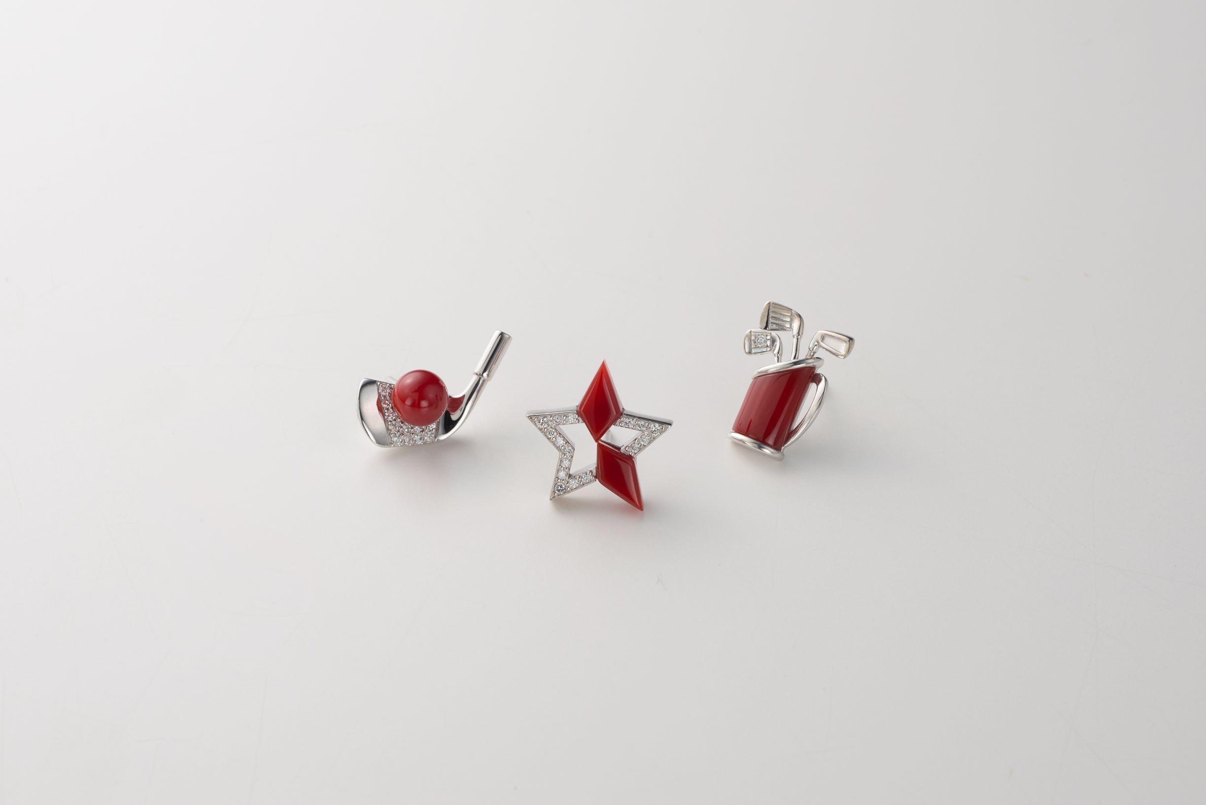 赤サンゴタック(K18WG・ダイヤ) ②