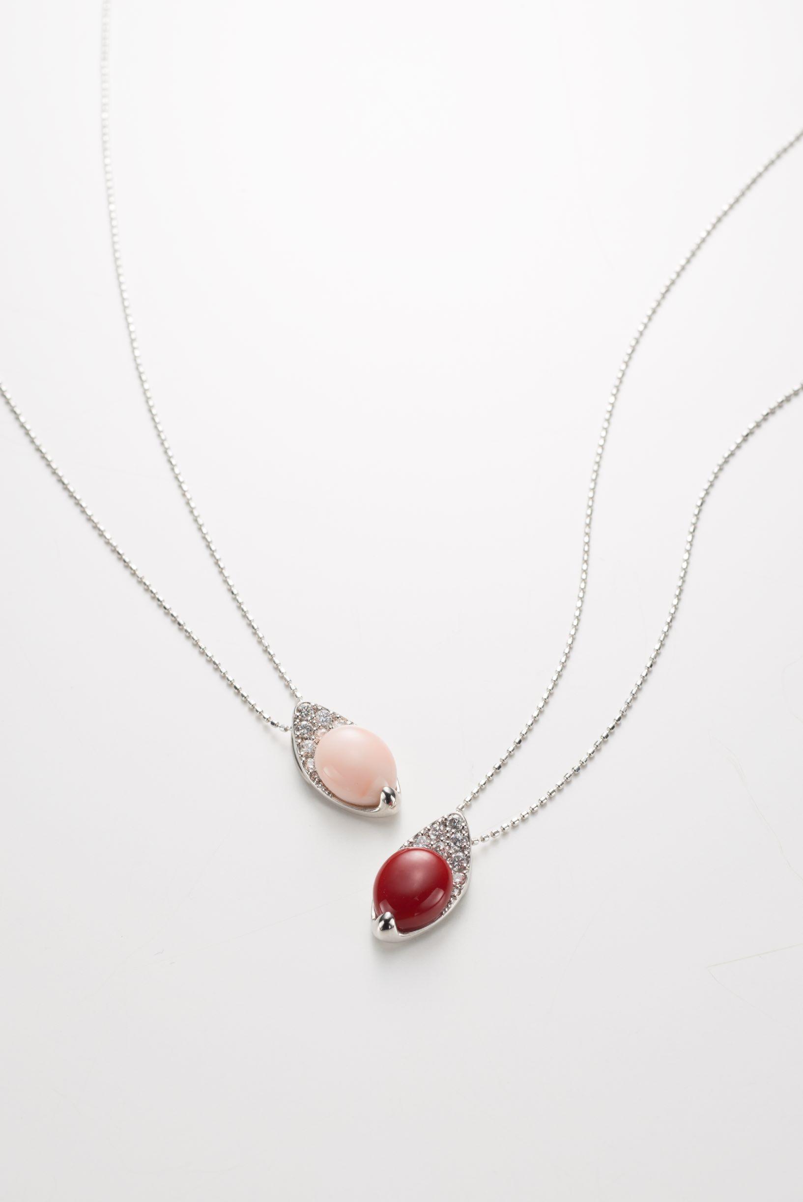 赤・ピンク珊瑚(K18WG・ダイヤ) n②